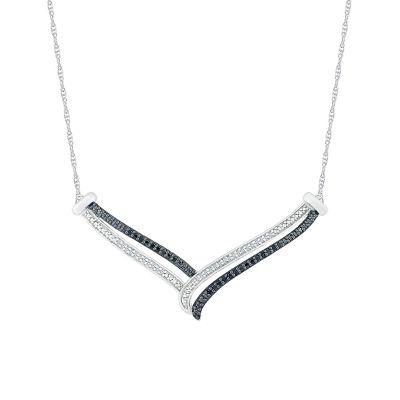 Womens 1/5 CT. T.W. Genuine Multi Color Diamond Chevron Necklaces