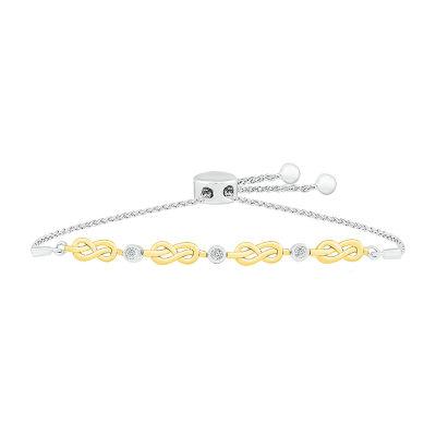 Diamond Accent Genuine White Diamond 14K Gold Over Silver Infinity Bolo Bracelet