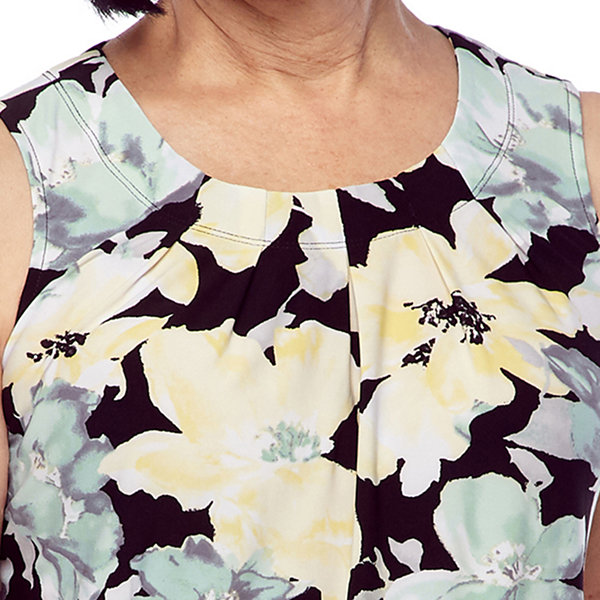 Black Label by Evan-Picone Womens Round Neck Sleeveless Floral Blouse