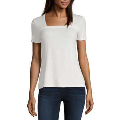 a.n.a-Womens Square Neck Short Sleeve T-Shirt