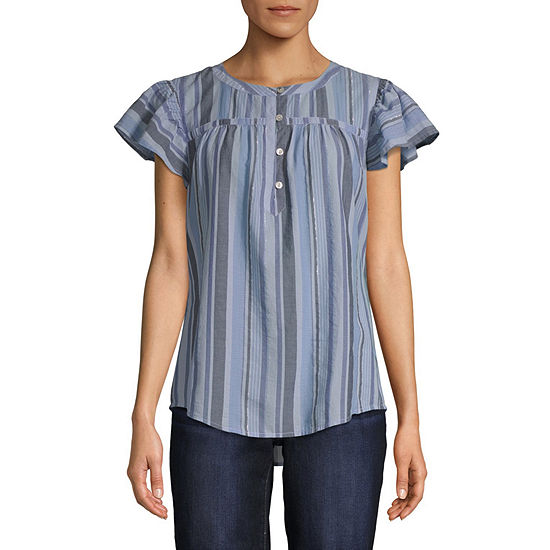St. John's Bay Womens Keyhole Neck Short Sleeve Blouse