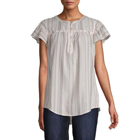 St. John's Bay Womens Keyhole Neck Short Sleeve Blouse, Petite X-large , Beige