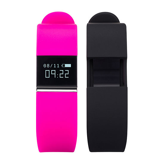 Ifitness Activity Tracker Silver/Fuschia And Black Interchangeable Band Unisex Multicolor Smart Watch-Ift2436bk668-338