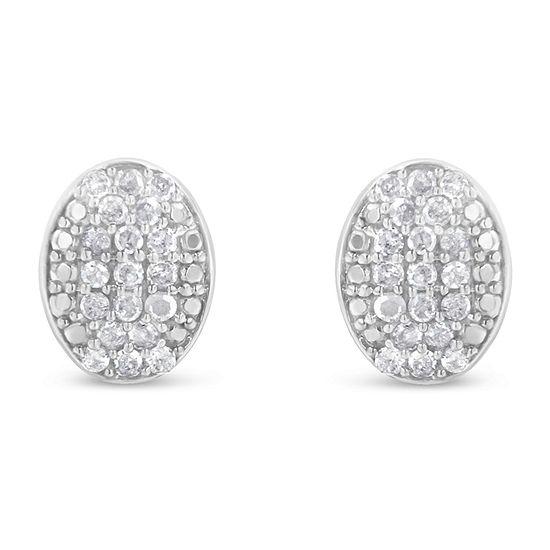 1/2 CT. T.W. Genuine White Diamond Sterling Silver 15mm Stud Earrings