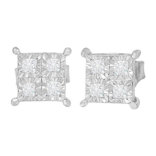 1 2 Ct Tw Genuine White Diamond Sterling Silver 15mm Stud Earrings