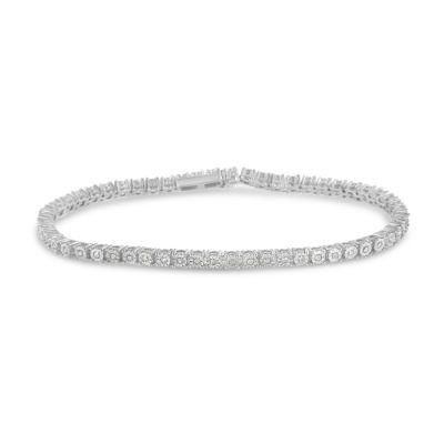 1/2 CT. T.W. Genuine White Diamond Sterling Silver 7 Inch Tennis Bracelet