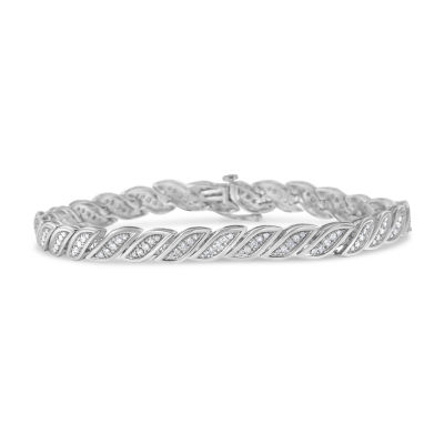 1 CT. T.W. Genuine White Diamond Sterling Silver 7 Inch Tennis Bracelet