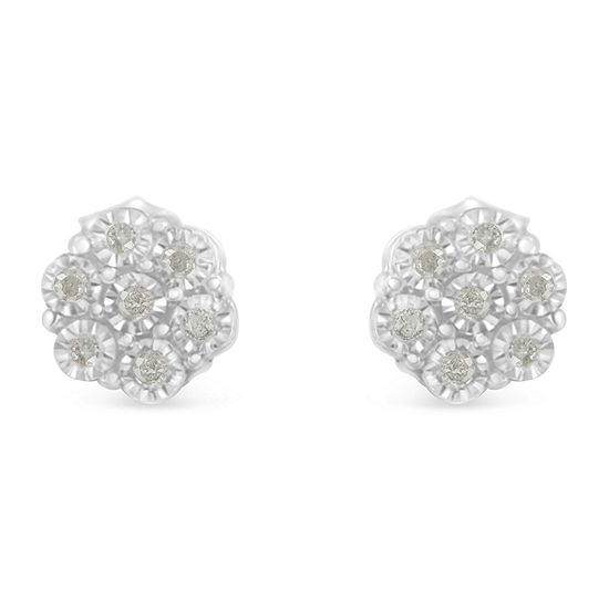 1 6 Ct Tw Genuine White Diamond Sterling Silver 16mm Stud Earrings