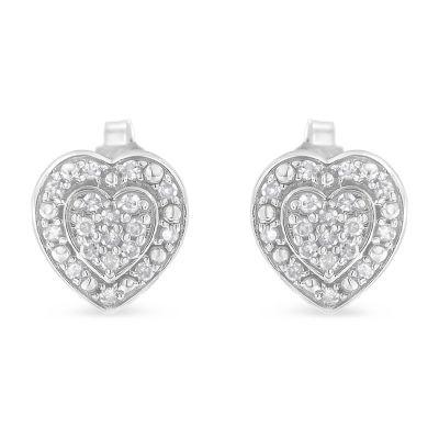 1/3 CT. T.W. Genuine White Diamond Sterling Silver 15mm Stud Earrings