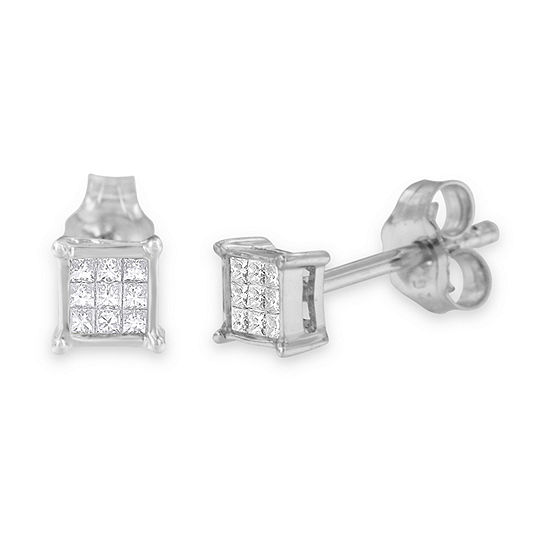 1/5 CT. T.W. Genuine White Diamond Sterling Silver 15mm Stud Earrings