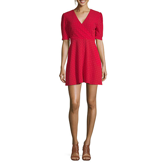 Arizona Short Sleeve Dots Wrap Dress-Juniors