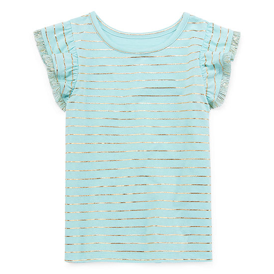 Okie Dokie Girls Round Neck Short Sleeve Graphic T-Shirt-Toddler