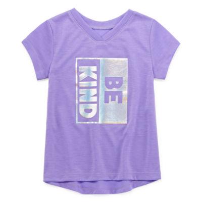 Okie Dokie Girls V Neck Short Sleeve Graphic T-Shirt-Toddler