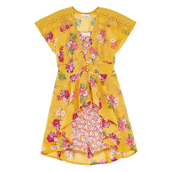 Self Esteem Kimono Romper Little Kid / Big Kid Girls 2-pc. Short Set