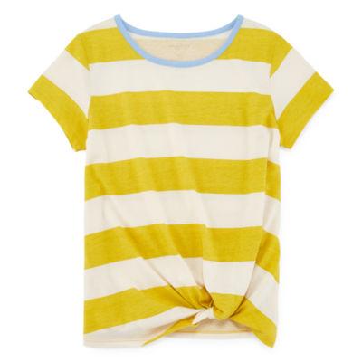 Arizona Girls Knot Tie Front Crew Neck Short Sleeve T-shirt
