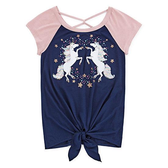 Knit Works Sequin Tees Little & Big Girls Scoop Neck Short Sleeve Graphic T-Shirt