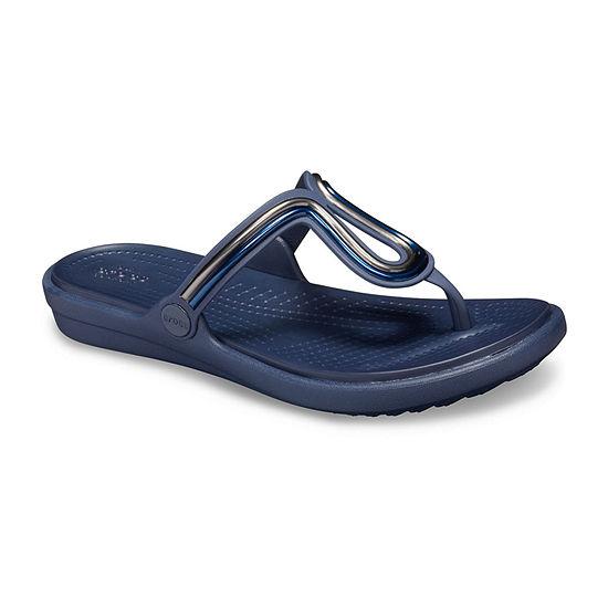 Crocs Womens Sanrah Metalblock Flat Flip Flip-Flops