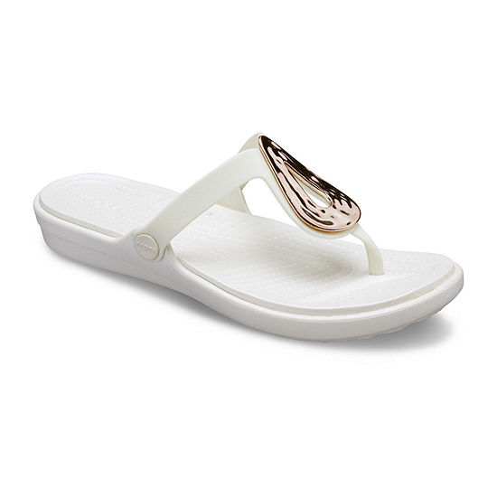 Crocs Womens Sanrah Liquid Metallic Flip Flip-Flops