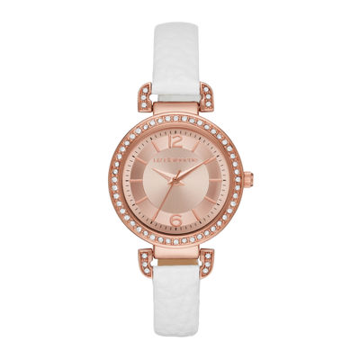 Liz Claiborne® Womens Rose Gold Tone Sunray Dial White Strap Watch