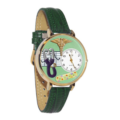 Whimsical Watches Personalized Nurse Womens Gold–Tone Bezel Green Leather Strap Watch