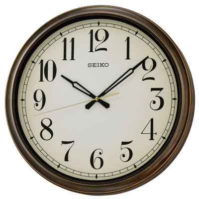 Seiko® Splash Resistance Outdoor Wall Clock BrownQxa548blh