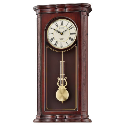 Seiko® Brown Wooden Wall Clock With 18 Hi-Fi Melodies Qxm361blh