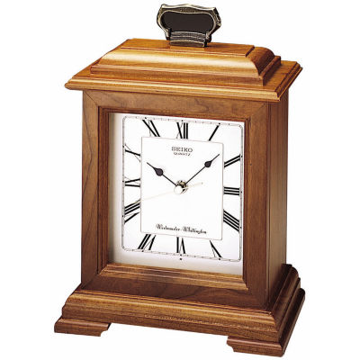 Seiko® Chime Carriage-Style Mantel Clock With Metal Handle Qxj102bc