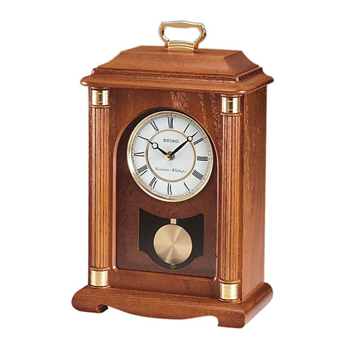 Seiko® Solid Oak Carriage-Style Mantel Clock WithChime And Pendulum Qxj114blh