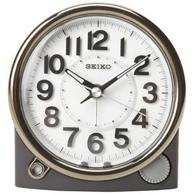 Seiko® Black Alarm Clock with Sweep Second Hand
