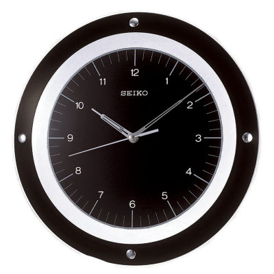 Seiko® Black with Silver Metal Wall Clock with Floating Dial