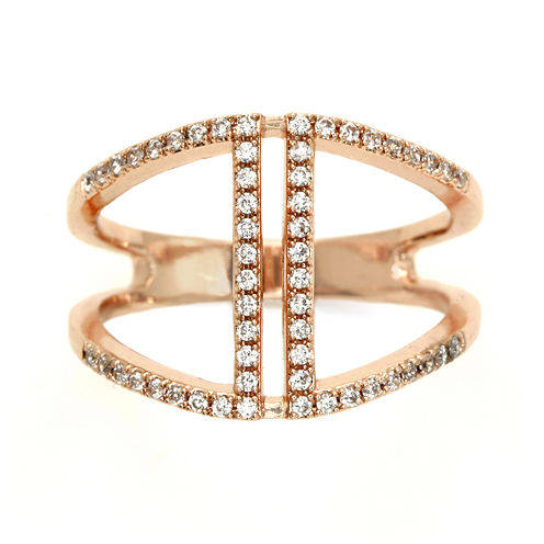 city x city® Crystal & Rose-Tone Silver-Plated Brass Pave Open Band Ring