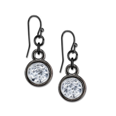 1928® Jewelry Black and Crystal Drop Earrings
