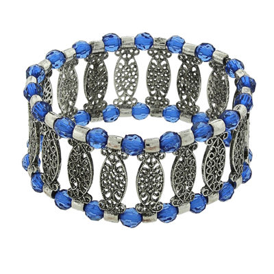 1928® Jewelry Silver-Tone Blue Filigree Stretch Bracelet