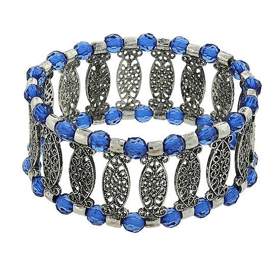 1928® Jewelry Silver-Tone Blue Filigree Stretch Bracelet