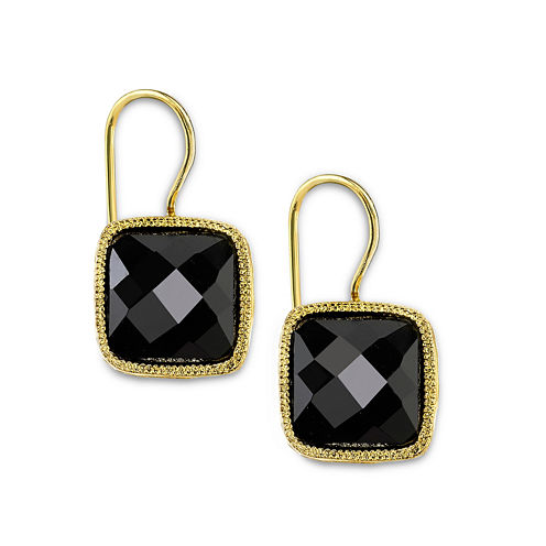 1928® Jewelry Gold-Tone Black Square Drop Earrings