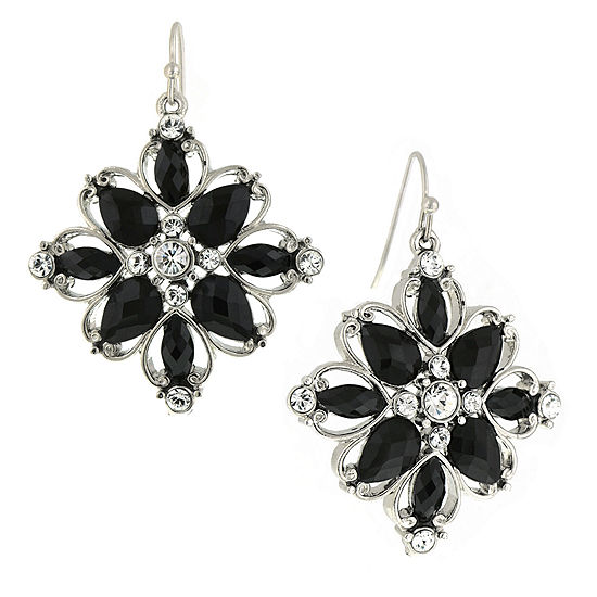 1928® Jewelry Silver-Tone Black Stone and Crystal Flower Drop Earrings