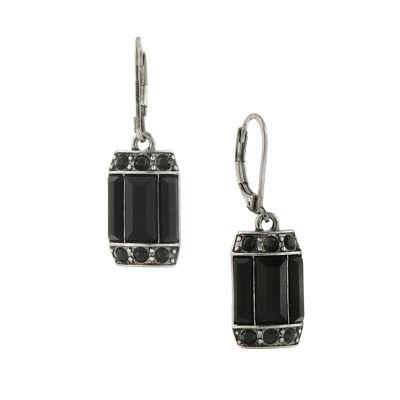 1928® Jewelry Silver-Tone Black Octagon Drop Earrings