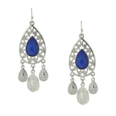 1928® Jewelry Silver-Tone Blue Filigree Teardrop Earrings