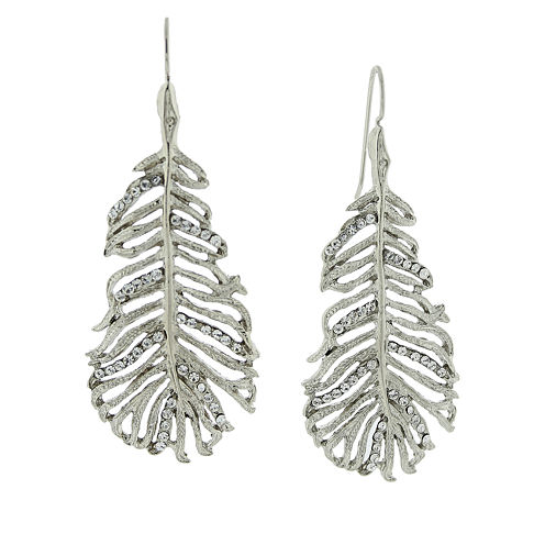 1928® Jewelry Silver-Tone Crystal Leaf Drop Earrings