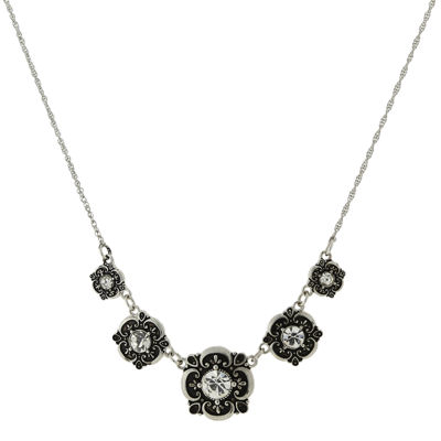 1928® Jewelry Silver-Tone Crystal Collar Necklace