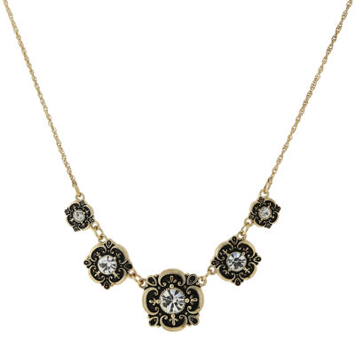 1928® Jewelry Gold-Tone Crystal Bib Necklace