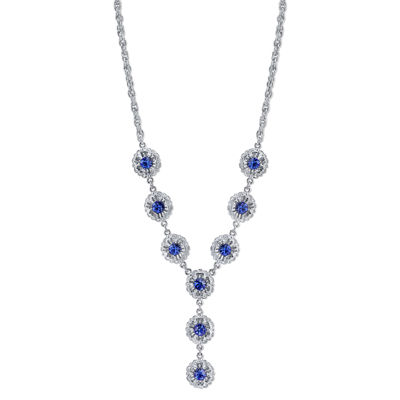 1928® Jewelry Silver-Tone Blue Crystal Flower Y-Necklace