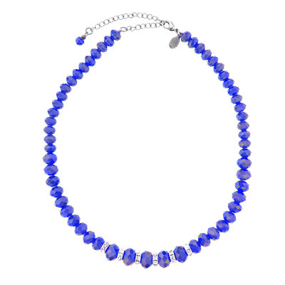 1928® Jewelry Silver-Tone Blue Faceted Crystal Necklace