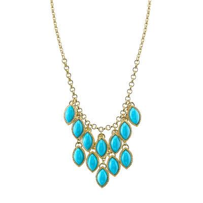 1928® Jewelry Gold-Tone Blue Stone Navette Bib Necklace