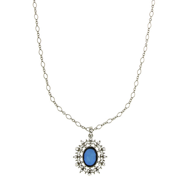 1928® Jewelry Silver-Tone Blue Crystal Oval Pendant
