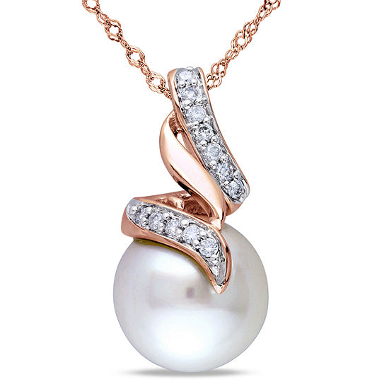 White Cultured Freshwater Pearl & Diamond 10K Rose Gold Pendant Necklace