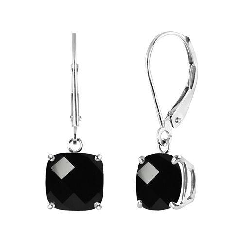 Genuine Black Onyx Sterling Silver Dangle Earrings