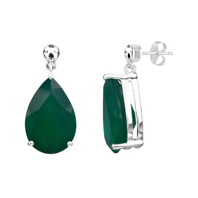 Genuine Green Onyx Sterling Silver Earrings