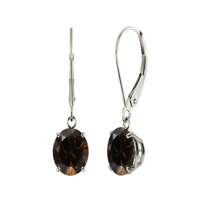 Round Genuine Smoky Quartz Sterling Silver Earrings
