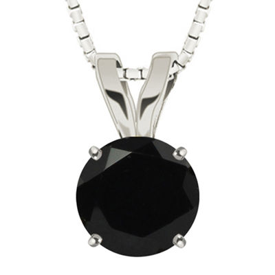 Round Genuine Black Onyx 10K White Gold Pendant Necklace